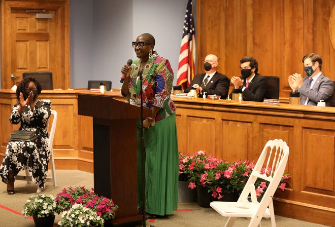 Gainesville City Commissioner Gail Johnson speaks during a swearing-in ceremony at City Hall in Gainesville on May 6.