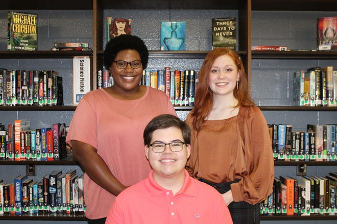 Centre Lions Club scholarship winners for 2021 from Cherokee County HIgh School are, standing, Olivia Oliphant and Makenzie Green; and seated, Ethan Laney..