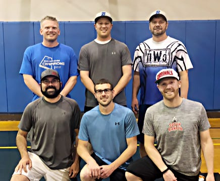 N.W.O. won the competitive division in the 2021 Watertown Park and Rec Wiffleball League. Team members include, from left in front, Sean Rue, Tad Heaton and Tyler Turbak; and back, Andrew Magedanz, Kyle Kraemer and Shannon Berg. Not pictured are Nash Berg and Grant Hoftiezer.