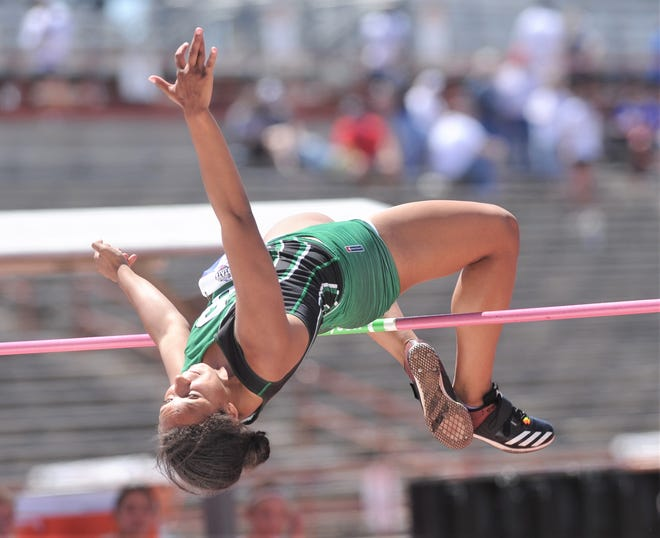 Breckenridge's Kylee Willis competes in the Class 3A girls high jump at the state meet Thursday at Mike A. Myers Stadium in Austin. She finished third with a 5-5.
