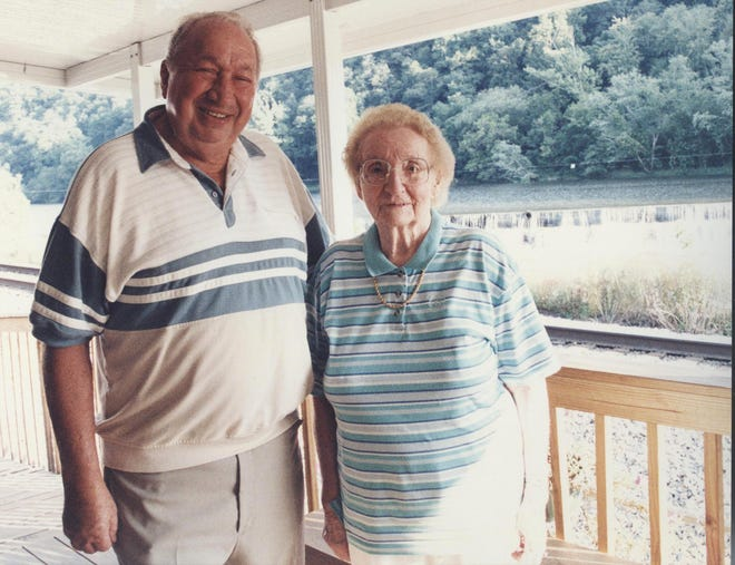"""Forrest and """"Mama Linda"""" Jarrett stand on the back porch of the Marshall Depot. She died in 2002 and was instrumental in the depot's survival."""