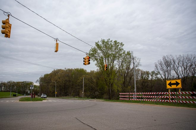 Battle Creek is proposing a new roundabout project at Skyline Drive and Hill Brady Road, pictured Thursday, May 6, 2021.