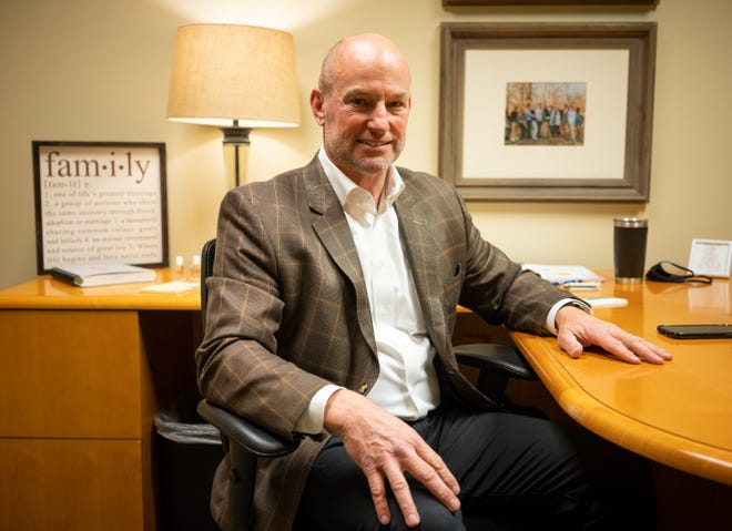 Brad DeVries, CEO of Huff Realty, sits in his company office which was recently ranked by The  Enquirer as the best place to work among large businesses in the area, Thursday, May 6, 2021 in Fort Mitchell, Kentucky.