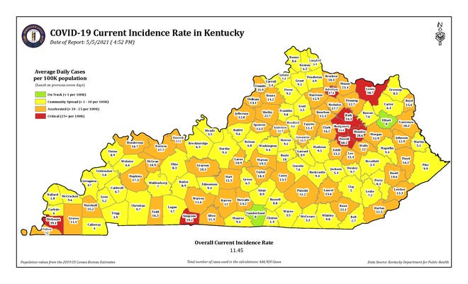 The COVID-19 current incidence rate map for Kentucky as of Wednesday, May 5.