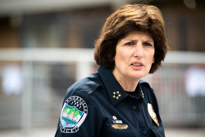 Knoxville Police Chief Eve Thomas addresses the decision to end the agreement that put Knoxville police in schools during a press conference at KPD Headquarters in downtown Knoxville on Thursday, May 6, 2021.