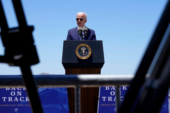 President Joe Biden speaks Thursday, May 6, 2021, in Lake Charles, La. (AP Photo/Alex Brandon)