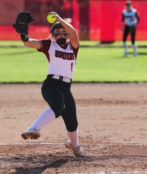 Ballard's Brooke Gray (1) winds up a pitch against Assumption at Ballard High School in Louisville, Ky. on May 5, 2021.  Ballard won 5-0.