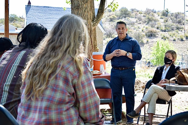 U.S. Sen. Ben Ray Luján, D-N.M., discusses outdoor recreation with business owners at an event Wednesday, May 5, 2021, in Silver City.