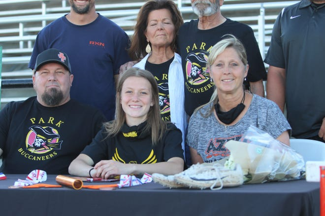 Aztec's Hallie Armstrong will continue her track and field career at Park University in Gilbert, Arizona.