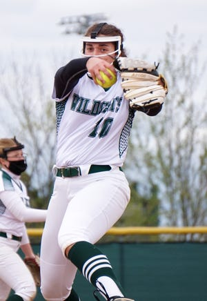 Wildcat pitcher Reganne Bennett winds up to deliver an offering to home plate on May 5, 2021.
