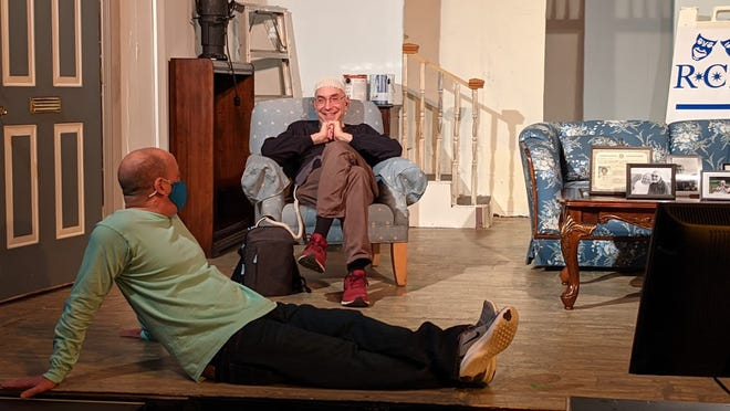 """Eric Goldstein, back, on the set of """"Here We Go."""""""