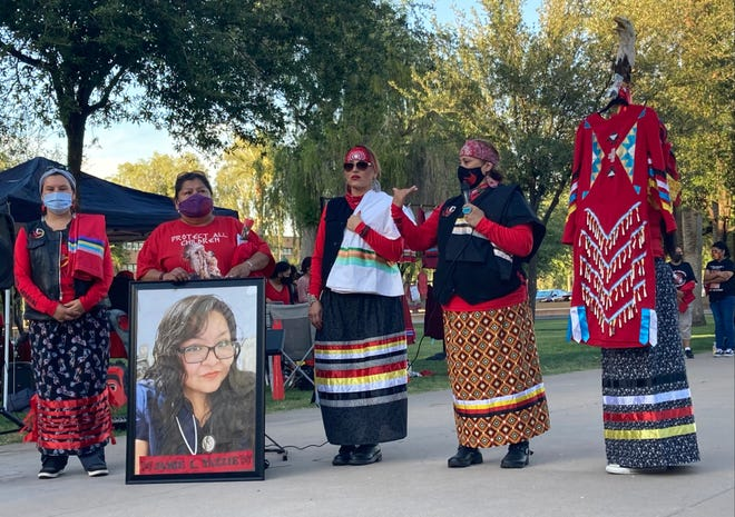 The family of Jamie Yazzie, who went missing in June 2019, speaks along with members of the Medicine Wheel Ride on May 5, 2021, in Phoenix.