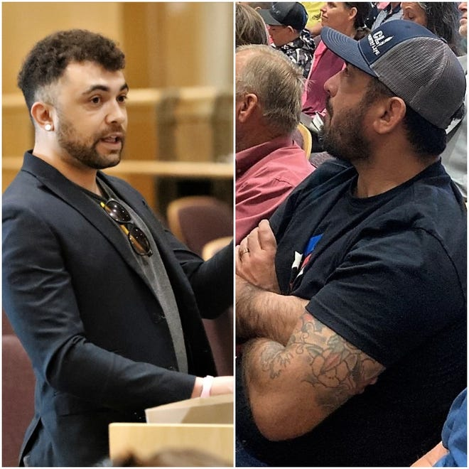 Nathan Blaze, left, and Carlos Zapata, right, are seen inside the Shasta County Board of Supervisors chambers during meetings in April 2021.