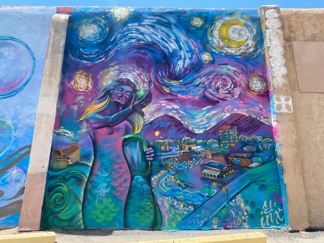 """Vincent van Gogh's """"The Starry Night"""" gets a west Texas twist at San Angelo's Paintbrush Alley, in the parking lot next to 19 W. Twohig. May 6, 2021. Artist: 'Inx' Davila."""