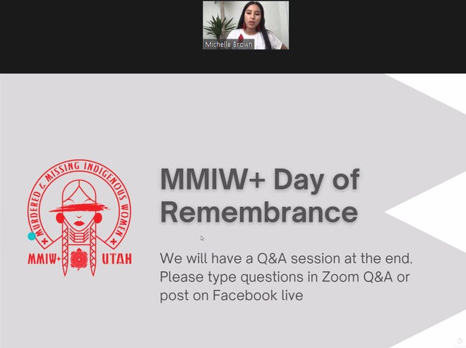 MMIW+ Utah Chair Michelle Brown introduces a missing and murdered indigenous women remembrance day panel on May 5, 2021.