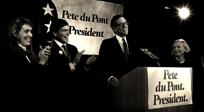 Former Gov. Pete du Pont announces his presidential campaign at the Hotel du Pont in 1986.