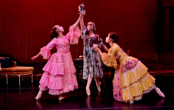 "Cinderella (Briar Vold), her stepsister in pink (Stella Gilbreth) and stepsister in yellow (Campbell Kramer) will perform in the Wichita Falls Ballet Theatre's ""Cinderella"" at 1 p.m. Saturday, May 8 at Memorial Auditorium, 1300 7th St. It will be the Ballet's first live performance in over a year! The audience will be socially distanced and masks are required. Tickets are $15 to $35 at WFMPEC.com and (940) 716-5500."