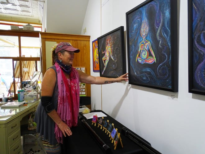"""Friday night is the opening for Sharon Dean's new collection """"Flaming Rainbow Galaxy Goddess"""" at ZAAP. The Main Street gallery is an ArtCOZ member, and one of the galleries open for the First Friday Art Walk on May 7, 2021."""