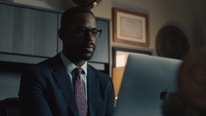 """Randall Pearson (Sterling K. Brown) of NBC's """"This is Us"""" is pictured in season 5 during a virtual therapy session."""