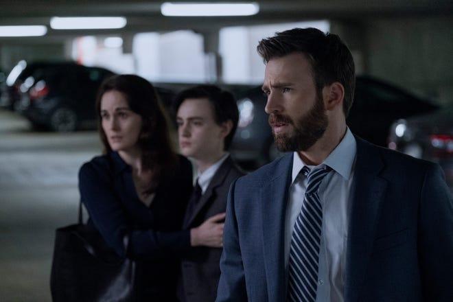 "Michelle Dockery, Jaeden Martell and Chris Evans in ""Defending Jacob."""