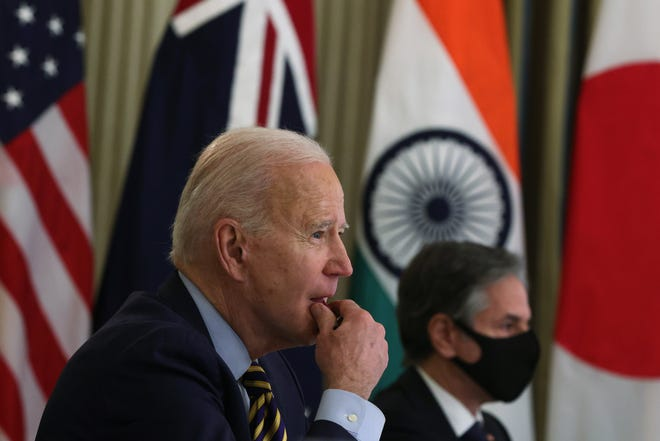 President Joe Biden and U.S. Secretary of State Anthony Blinken in virtual meeting with leaders of Quadrilateral Security Dialogue countries on March 12, 2021, in Washington, D.C.