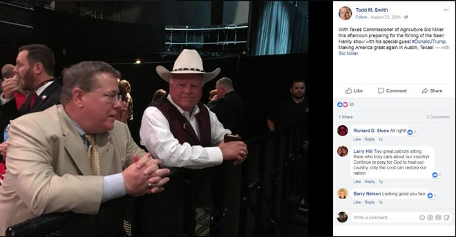 A Facebook post by Todd M. Smith, left, who is a lobbyist and a campaign consultant for Texas Agriculture Commissioner Sid Miller, right.