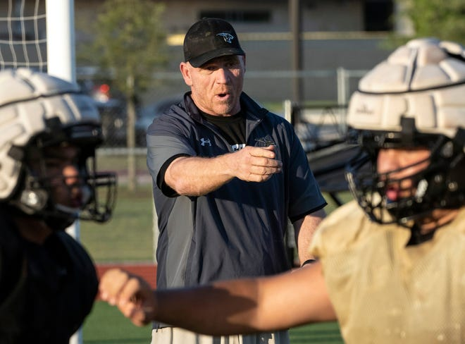 Johnson Jaguars head coach Stephen Hoffman, watches drills during Johnson's spring football practice, on Thursday, May 6, 2021, in Buda, Texas.