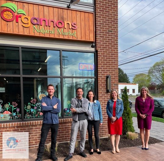 Photo from left, Jim Gannon, owner of Organnons Market, stands outside his store with four founding members of the Corinne Sikora Wellness and Support Center Keith Fenimore; Kristina Fenimore; Alyssa Walloff; and Dr. Shelly Hayes.