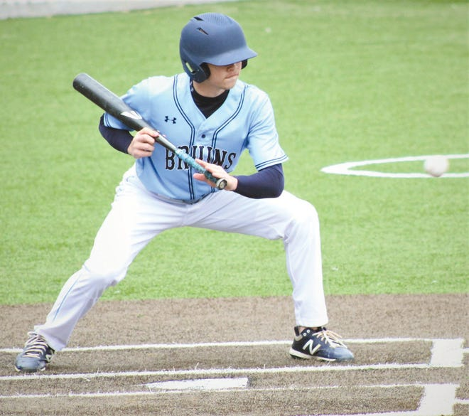 A Bartlesville High batter shows a bunting stance during game action this past season.
