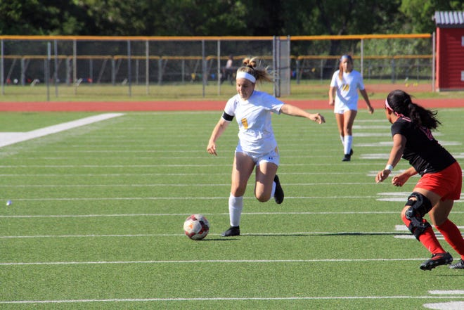 Circle's Brooklyn Hunter attempts a shot against Liberal on Thursday, May 6 at Wichita North High. The Lady Thunderbirds beat Liberal 2-0 to advance to the finals of the North Cup.