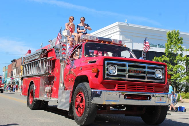The City of Cheboygan will be taking sealed bids for the fire department's 1985 GMC Series fire truck Ñseen here in the city's Fourth of July ParadeÑ which has just over 14,000 miles on it and comes with several ladders and hoses.