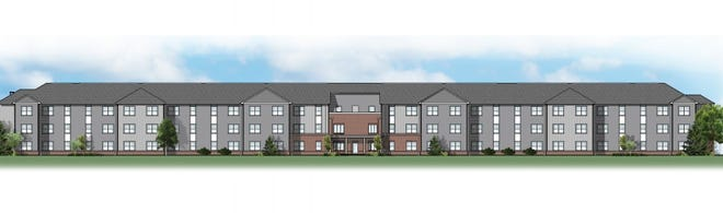 A rendering of the exterior of the Dunbury Greene senior apartments to be built in Prairie Township near Hollywood Casino Columbus by Woda Cooper Companies.