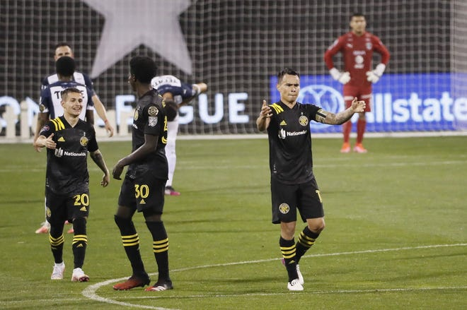 Crew midfielder Lucas Zelarayan celebrates scoring a goal against CF Monterrey at Crew Stadium on April 28. Zelarayan was given a yellow card earlier in the game and missed the next game against Monterrey.