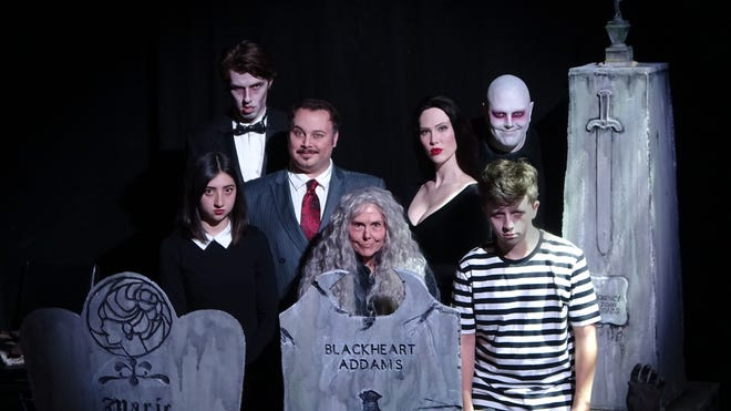 """Cast members in Columbus Immersive Theater's production of """"The Addams Family Quarantined Concert."""""""