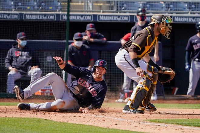 Cleveland's Bradley Zimmer scores against the San Diego Padres in a spring training game on March 11. Zimmer has had 455 major league at-bats and is working toward a promotion.