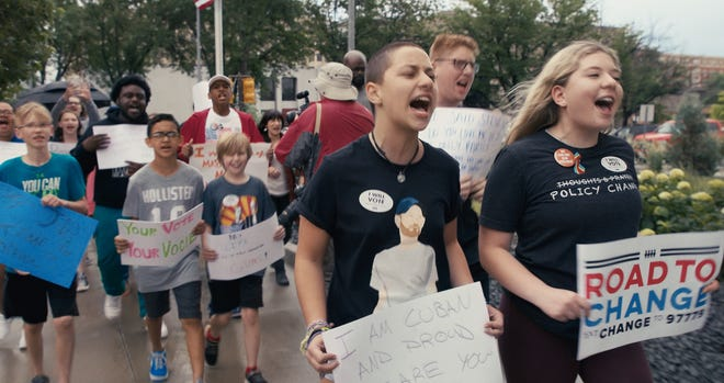 """Gun-control activists Emma Gonzalez, left, and Jaclyn Corin in a scene from """"Us Kids."""""""