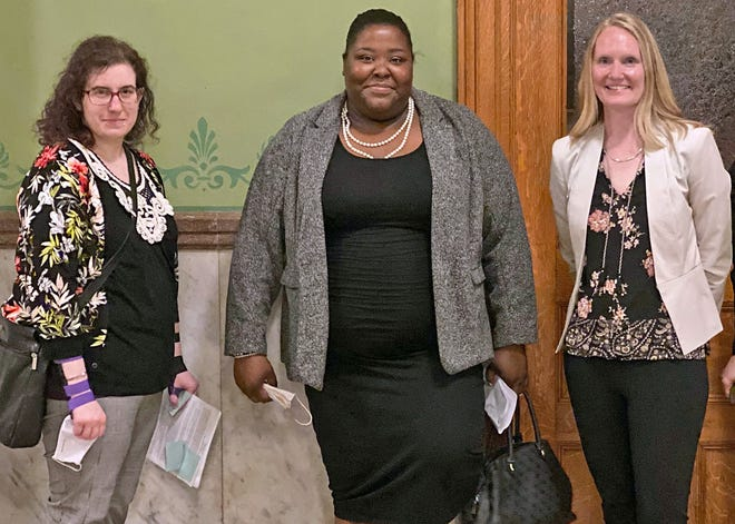 Nikki Chinn (left) and Deanna Jones (center) were among those who testified in front of an Ohio Senate committee last week about their experiences in foster care and the need for an independent youth ombudsman office. They were accompanied by Kim Eckhart (right) of the Children's Defense Fund-Ohio.
