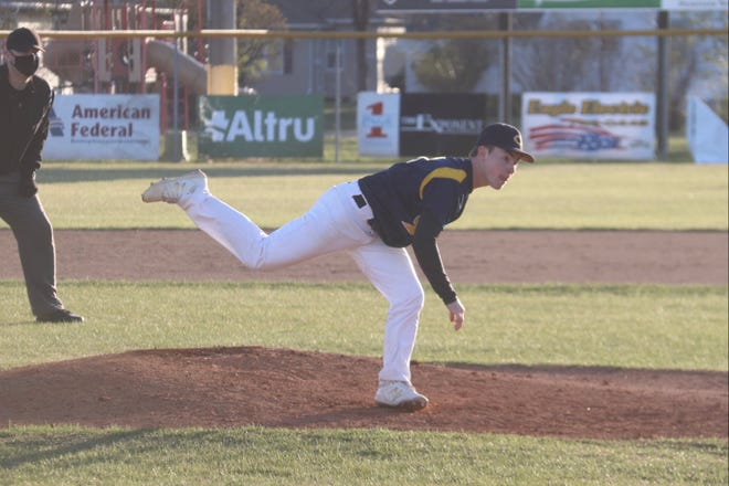 Jacob Miller pitches against Sacred Heart on May 6. Miller pitched a shutout in Crookston's win over Ada-Borup on Tuesday.