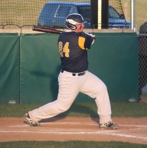 Brooks Butt in a game against Sacred Heart on May 6. Butt drove in the Pirates' lone run in their doubleheader sweep at Warroad on Tuesday.