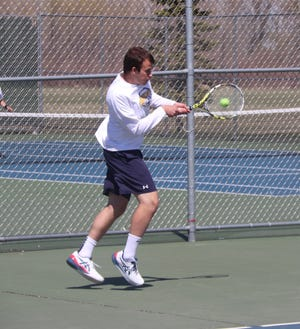 Jack Garmen in a match against Perham last Friday, May 7. Garmen and the Pirates fell to Hibbing and Grand Rapids on Tuesday.