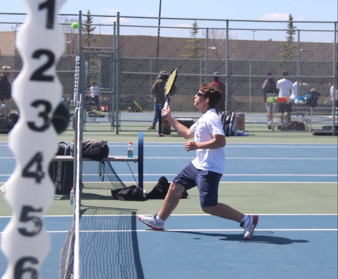 Evan Christensen in a match against Perham on May 7. Christensen and the Pirates ended their regular season with a 5-2 win over Osakis on Monday.