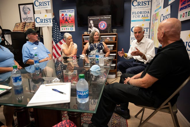 Democratic Congressman Charlie Crist, who is running for governor, speaks to the Lake County Democratic Party in Mount Dora on Thursday. [Cindy Peterson/Correspondent]