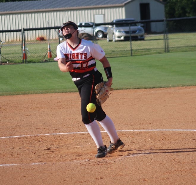North Davidson's Abby Craver pitches against East Rutherford. [Austin Bailey/Daily Courier]