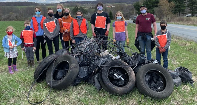 The club gathered for road side clean up along roads in Wayne County.