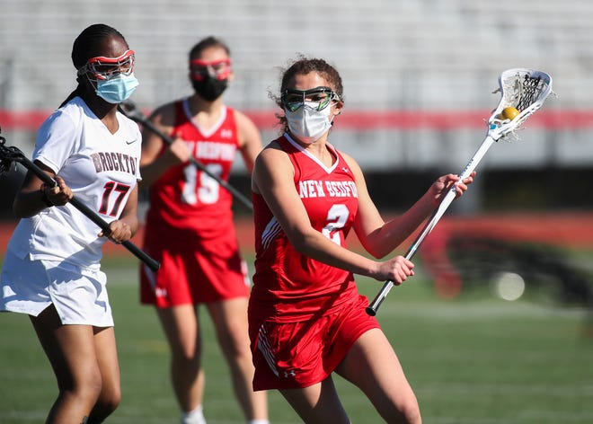 New Bedford's Tatum Reis sets up to score on Brockton in the game on Thursday, May 6, 2021at Brockton High School.