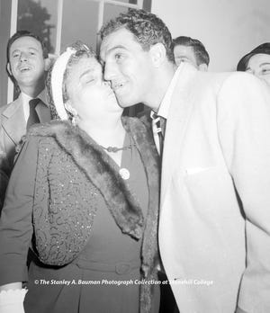 Sunday is Mother's Day. In celebration of the holiday, we look back to a photograph from Stanley A. Bauman on Oct. 2, 1952, when he photographed city native and legendary boxer Rocky Marciano with his mother,Pasqualina Marchegiano, celebrating when he returned home to Brockton after his title win over Jersey Joe Walcott on Sept. 23, 1952.