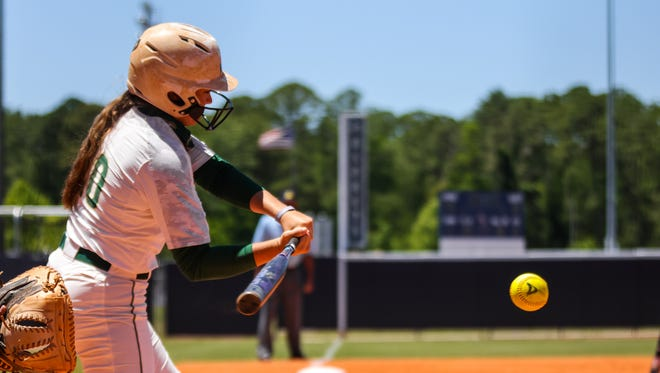 Haley Holloway of Jacksonville University drove in a key run in the first game of Friday's ASUN Tournament doubleheader against the University of North Florida.