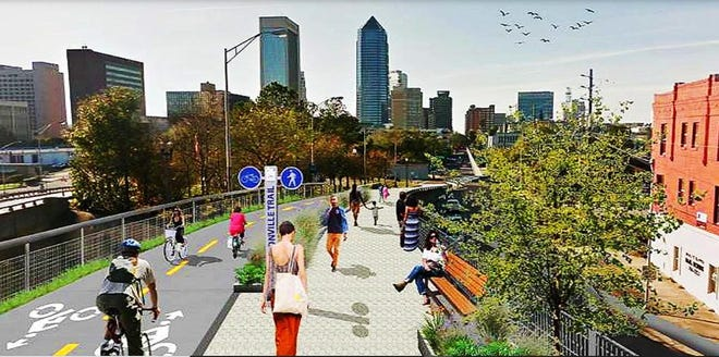 A rendering shows how a shared-use path in the Emerald Trail would give walkers, joggers and bicyclists a way to move between downtown and surrounding neighborhoods.