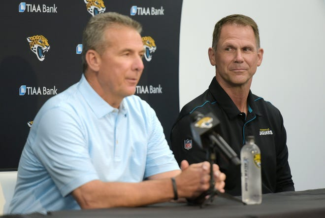 Jaguars' head coach Urban Meyer (L) and general manager Trent Baalke, seen here during a joint press conference last week to introduce first-round picks Trevor Lawrence and Travis Etienne, so far look like a winning merger for team owner Shad Khan.