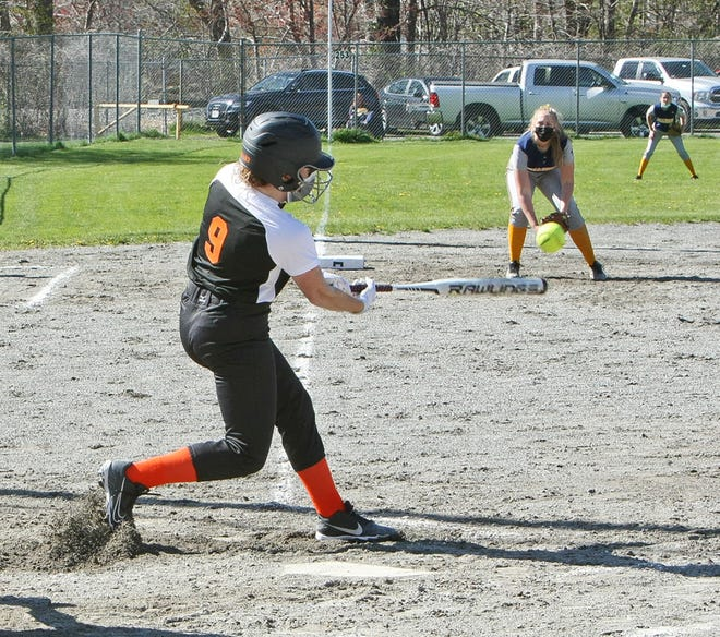 Gardner's Haylee Girouard makes contact for the Wildcats during their May 6, 2021 game against Quabbin at Bickford Playground in Gardner. The Wildcats are the 14th seed in next week's Central Mass. Division 3 Tournament.